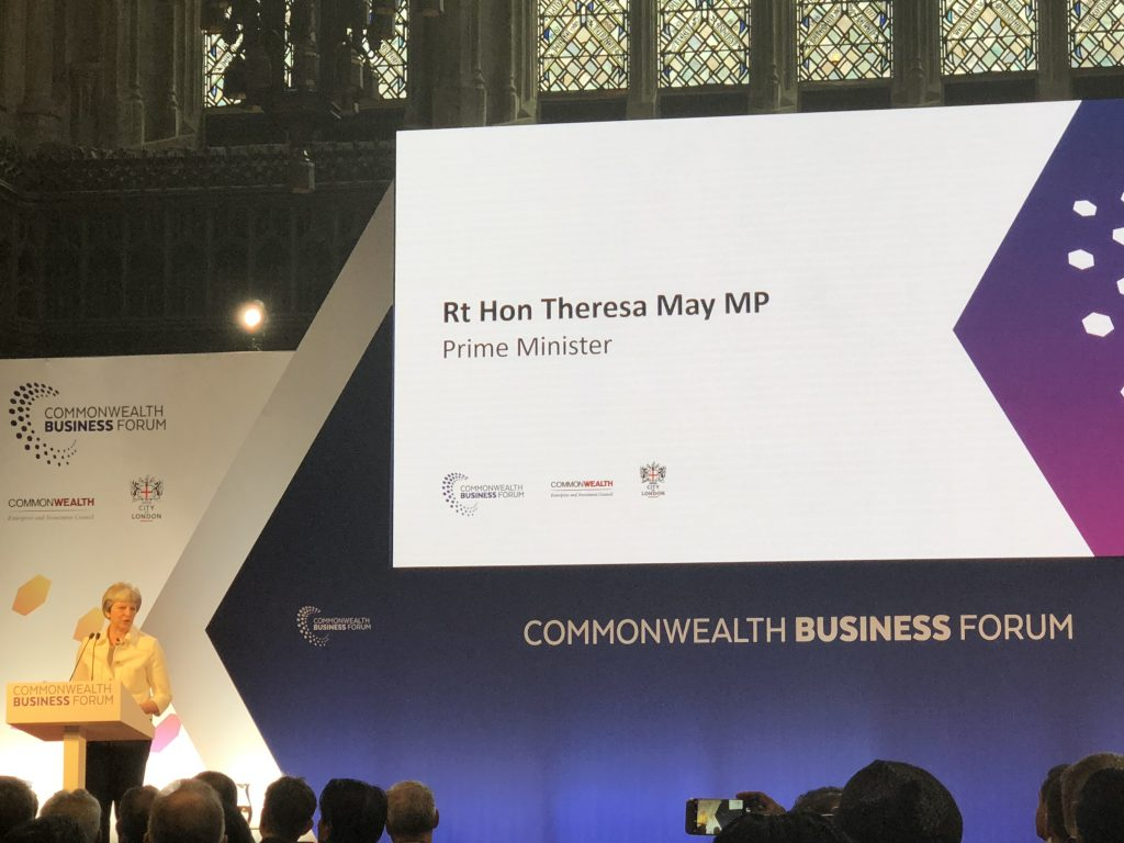 Commonwealth Business Forum 2018 featuring the Prime Minister of United Kingdom